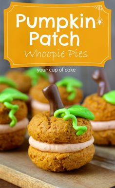 Adorably delicious pumpkin patch whoopie pies that everyone will love.  This deliciously creative treat packs plenty of pumpkin flavor into each bite sized whoopie pie.