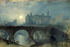 """""""Alnwick Castle"""" (c. By Joseph Mallord William Turner, from Covent Garden, London, UK - watercolor on paper. Alnwick Castle, Joseph Mallord William Turner, Covent Garden, Art Romantique, Turner Painting, English Romantic, Art Aquarelle, Watercolor Landscape Paintings, Oil Paintings"""