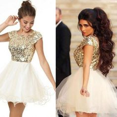 Cecelle 2016 Gold Sequins Sparkly Short Homecoming Dresses Cap Sleeves Puffy A-line Cute Juniors Mini Prom Cocktail Dresses New