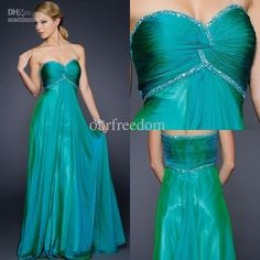 Wholesale Prom Dresses - Buy New Simple Green Sweetheart Beads A Line Empire Waist Floor Length Chiffon Prom Dresses Pageant Party Evening Gowns Cheap Custom Made 2013, $119.0   DHgate
