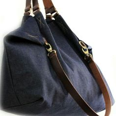 Weekend bag, made of denim and Italian pull up leather... The pull up leather is a special kind of leather with the luxury effect that lightens the surface when pulled or bent.... make a very vintage effect! www.genuinemyself.com