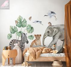 Wall decals with animals for a childs room  Originally watercolor, digitally processed so that it looks nice and looks like a hand-painted wall.  Dimensions of the sticker:   Elephant 92 x 75 cm  Lion 35 x 48 cm  Zebra 60 x 85 cm  Heron I 42 x 27 cm  Heron II 33 x 18 cm  Leaves from 16 to 34 cm Safari Bedroom, Safari Nursery, Safari Theme, Kids Wall Decals, Wall Stickers, Nursery Wall Decals, Baby Room Design, Original Wallpaper, Wall Murals