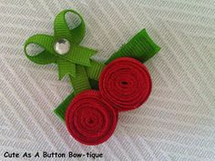 Cherries Ribbon Sculptured Hair Bow Retails for $3.50 Sale Price $2.75 - ONLY 2 available.