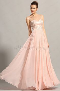 Elegant Sleeveless Embroidered Pink Evening Gown Prom Dress (00153801) #edressit #pink_dress #evening_dress #fashion #trendy