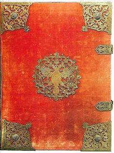 """The book """"On election to the throne …"""". Cover and title page. Moscow Armory, 1672-1673. Masters Ivan Vereshchagin, Ivan Maximov """"with friends"""", Gregory Blagushin """"and his comrades."""" Paper (France, 17th c.), Silver, cloth, wood, painting, molding, stamping, engraving. http://viola.bz/ancient-book-covers-as-russian-jewelry-art/"""