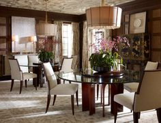 Classic dining room featuring Baker Furniture and an incredible ceiling design.