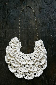 """Free pattern for """"Crochet Bib Necklace"""" from A Common Thread! Looks a bit much -would need a really pretty yarn"""