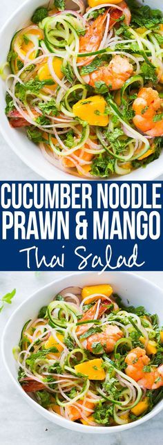 Super fresh cucumber noodle prawn and mango salad which is also gluten free. All the thai flavours of Bangkok in this hearty spiralizer salad recipe. I'm totally making this salad this summer! Just replace prawns with tofu or another vegetable to make it vegetarian and vegan too!