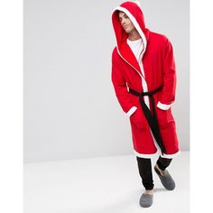 ASOS Christmas Santa Dressing Gown ($22) ❤ liked on Polyvore featuring men's fashion, men's clothing, men's sleepwear, red, tall mens clothing and asos mens clothing