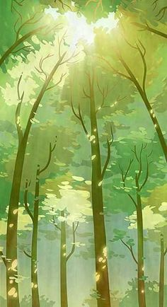 samsung wallpaper illustration Illustration Tree Another background, this time for a pan. The pan begins with the characters at t. Fantasy Landscape, Landscape Art, Green Landscape, Landscape Lighting, Landscape Concept, Art Disney, Forest Illustration, Animation Background, Environment Concept Art