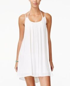 Roxy Juniors' Windy Fly Away Strappy Trapeze Sundress - White XL