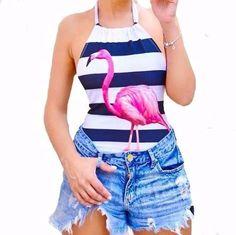 Body Maio Feminino Tiras Flamingo Cavado Juju Salimeni