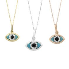 Tousi Jewelers Diamond Evil Eye Necklace-Real Solid 14 k Gold- Evil Eye Pendant-Evil eye Charm - Evil Eye Necklace