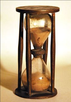 A late century country made Hourglass. 6 inches in Primitive Homes, Primitive Antiques, Tavern And Table, Surface Modeling, Sand Timers, Old Clocks, Conceptual Design, Modern Times, Ways Of Seeing