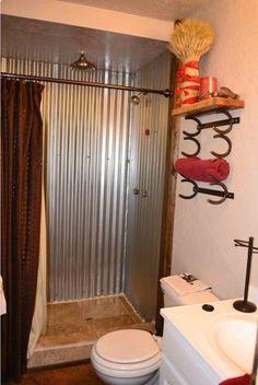 Tin shower walls, like it!