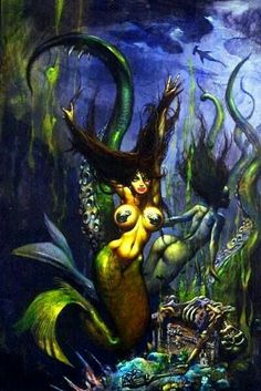 Beauty from the depths of Greylore Dark Fantasy Art, Fantasy Girl, Fantasy Artwork, Simon Bisley, Heavy Metal Art, Figure Sketching, Sword And Sorcery, Sad Art, Science Fiction Art