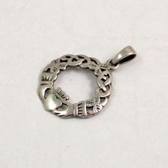 Vintage Sterling Silver Claddagh Pendant Celtic Pendant by mybooms