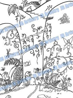 Coloring Page Fairy Garden by JBArtistryShop on Etsy Wood Book, Coloring Pages, Fairy, Quilts, Handmade Gifts, Illustration, Garden, Etsy, Inspiration