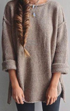 #street #style / oversized beige knit