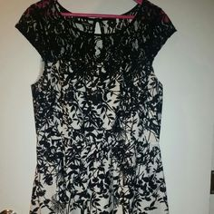 Black and white floral dress Back and white fit and flare with lace shoulder and neck line. Only wore twice Maurices Dresses