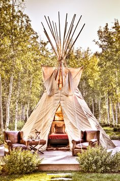Camp in style with this stunning teepee, or create a gorgeous outdoor space when teamed with leather upholstered furniture. GO GLAMPING Backyard Camping, Camping Glamping, Camping Ideas, Teepee Tent Camping, Diy Teepee, Luxury Camping, Camping Checklist, Campsite, Outdoor Camping