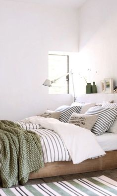 white bedroom clean fresh with pops of color green small bedroom design Rustic Home Interiors, Colorful Bedroom Design, Bedroom Green, Home Decor, Stylish Bedroom, Stylish Bedroom Design, Bedroom Colors, Clean Bedroom, Interior Design Bedroom