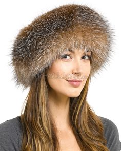b82626e5a30 Samantha Crystal Fox Fur Roller Hat with Leather Top