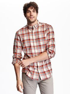 Slim-Fit Plaid Flannel Shirt Product Image