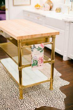 Antique Brass Kitchen Island, Contemporary, kitchen, Style Me Pretty