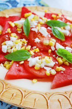 Watermelon Basil Salad with Feta & Corn