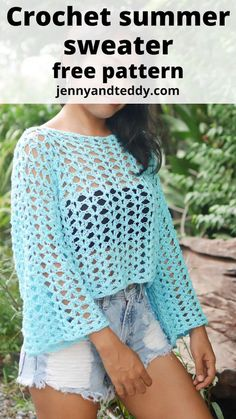 Baby Knitting Patterns, Crochet Patterns, Crochet Skirt Pattern, Crochet Summer Tops, Quick Crochet, Summer Sweaters, Crochet Clothes, Pullover, T Shirt