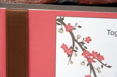 Coral and Brown Ribbon Cherry Blossom Wedding Invitation