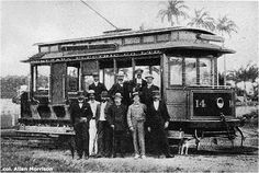 In 1899 a group of Canadian industrialists, founded Demerara Electric Company in Montreal and purchased Georgetown Tramways Company and the British Guiana Electric Light & Power Company. DEC ordered 14 open electric trams, with Westinghouse motors and Peckham trucks, from St. Louis Car Company in Missouri. The new cars were numbered 1-14. The photograph below was taken in Georgetown in 1900 [Street Railway Journal, New York, 6 April 1901, p. 417]: