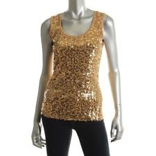 Jones New York NEW Gold Sequined Mesh U-Neck Sleeveless Tank Top L BHFO Sequin Tank Tops, Metallic Gold, Sequins, Fashion Outfits, Lace, Pretty, Shopping, Mesh, York