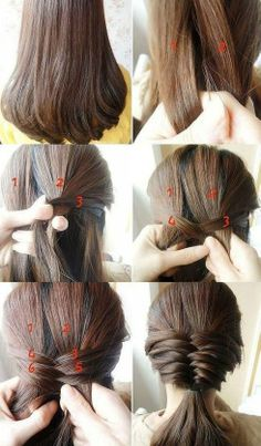 hairstyles for medium length hair. I will have try tis when my hairs grows longer