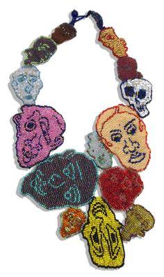 """JOYCE J. SCOTT ELECTION DAY II, WE WON 2014. Peyote-stitched glass beads, thread 13.25"""" x 6.5"""""""
