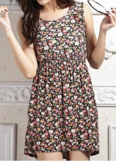 Sweet Scoop Neck Tiny Floral Print Color Block Women's Sundress