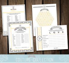 "Bridal Shower GAME PACKAGE of 4 games - Bride to ""Bee"" Bridal Shower bride to bee modern pattern shower set - Printable DIY Digital File"