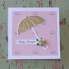 Baby Shower Card for little girl - Umbrella, Roses, Gold Glitter and Pink