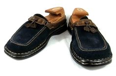 Born Loafers Navy Blue Suede and Leather Slip On Tassel Shoes Womens 9.5 M #Brn #LoafersMoccasins