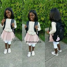 Lyric Hurd - 7 years ❤ Gorgeous little girl on the first day of school Dec Little Girl Fashion, Toddler Fashion, Kids Fashion, Cute Outfits For Kids, Cute Kids, Cute Babies, Beautiful Black Babies, Beautiful Children, Beautiful Family