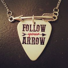 Follow your arrow guitar pick necklace with silver arrow charm - Gorgeous and Unique! on Etsy, $12.00