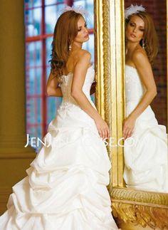 A-Line/Princess Strapless Chapel Train Taffeta Wedding Dresses With Ruffle  Beadwork (002011519) http://jenjenhouse.com/A-line-Princess-Strapless-Chapel-Train-Taffeta-Wedding-Dresses-With-Ruffle--Beadwork-002011519-g11519