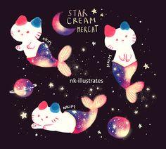 Star Cream the Cat! Chat Kawaii, Kawaii Cat, Cute Animal Drawings, Kawaii Drawings, Cream Cat, Cat Drawing, Cat Art, Cute Cats, Anime Art