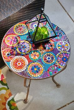 One look at Pier Elba Mosaic Accent Table and we instantly think of summer patio parties. With a colorful, hand-applied mosaic top and sturdy weather-resistant iron frame, Elba may become the center of attention?especially when food and drinks join i Mosaic Crafts, Mosaic Projects, Mosaic Art, Mosaic Glass, Mosaic Tiles, Craft Projects, Stained Glass, Craft Ideas, Mosaic Mirrors