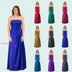 Royal blue satin wedding bridesmaid dress evening prom dress lace back SZ 8-22