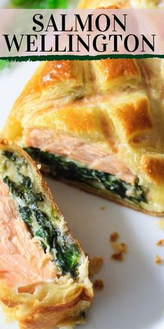 Salmon Wellington Seasoned salmon with cheesy sauteed spinach wrapped in puff pastry and baked to crunchy golden goodness. Pescatarian Diet, Pescatarian Recipes, Vegetarian Recipes, Cooking Recipes, Healthy Recipes, Baked Salmon Recipes, Fish Recipes, Seafood Recipes, Seafood Appetizers