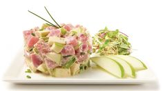 Tartare de thon à la pomme, mayonnaise épicée