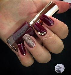 Rhinestone Nails for Valentines Classy Nails, Fancy Nails, Stylish Nails, Trendy Nails, Wine Nails, Bridal Nail Art, Swarovski Nails, Powder Nails, Holiday Nails