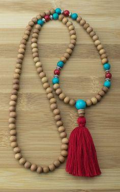 Mala Beads - Sandalwood Meditation Mala Necklace With Turquoise Howlite &…